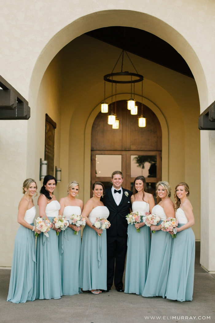 bridesmaids with groom portrait