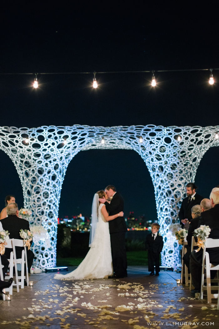 bride and groom's first kiss