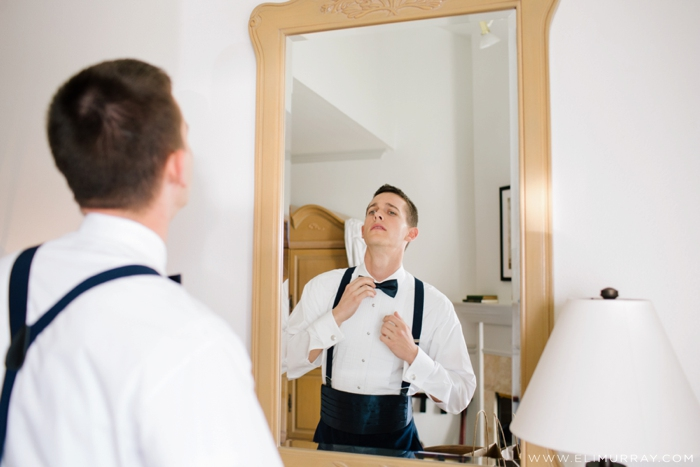 groom getting ready at blue lantern inn
