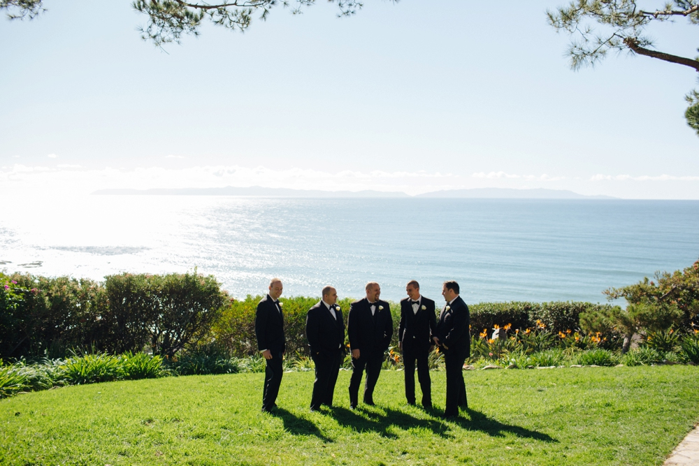 Groomsman overlooking the ocean