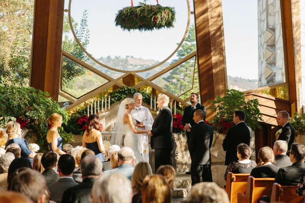 Wedding inside Wayfarers Chapel