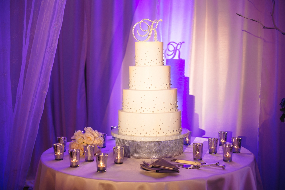 Wedding Cake with purple uplighting
