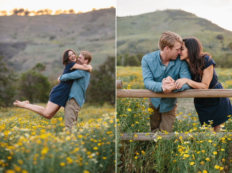 Photos of Engaged couple in yellow flower fields