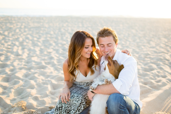 couple and their dog on newport beach