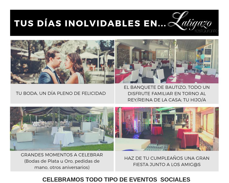 Celebraciones y eventos sociales. Restaurante Latigazo 2019.png