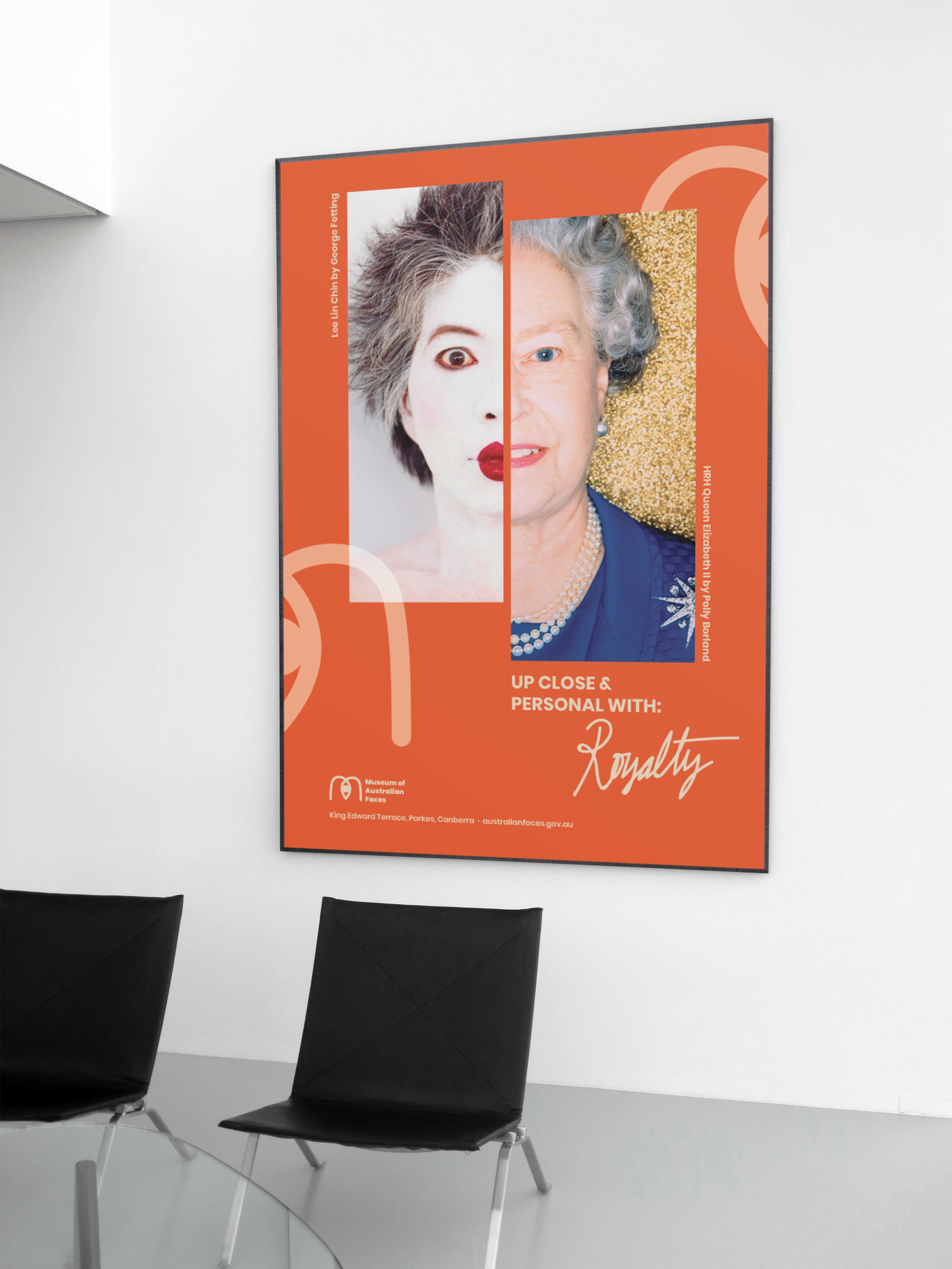 Museum of Australian Faces - A creative re-imagining of the National Portrait Gallery in Canberra, Australia. This re-brand focuses on promoting the iconic collection of over 2,600 paintings, photographs, sculptures and videos.+ visual identity/branding+ marketing/advertising+ environmental design