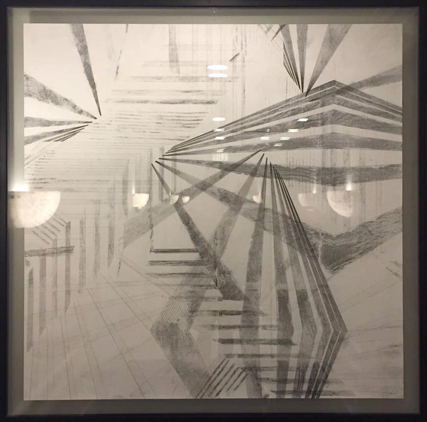 150x150 cm, framed in glass
