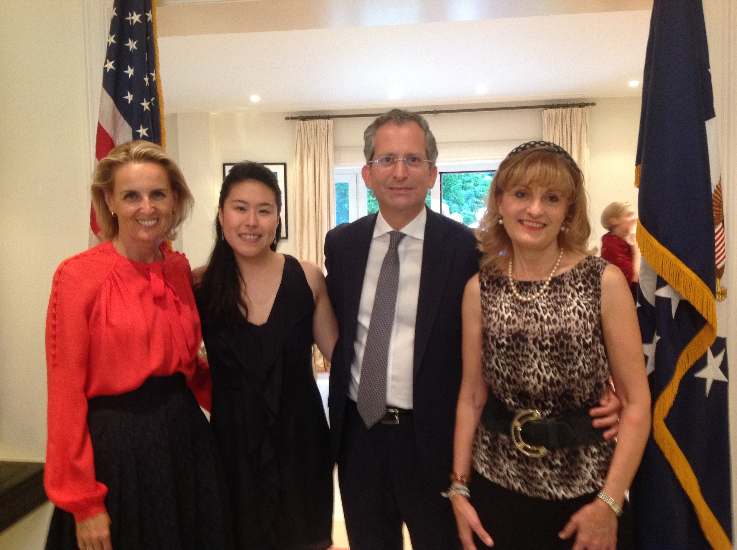 From left to right:  Mrs. Alessandra Mac Crohon Gardner, cellist Deborah Pae, Ambassador Anthony L. Gardner, and pianist Dana Protopopescu