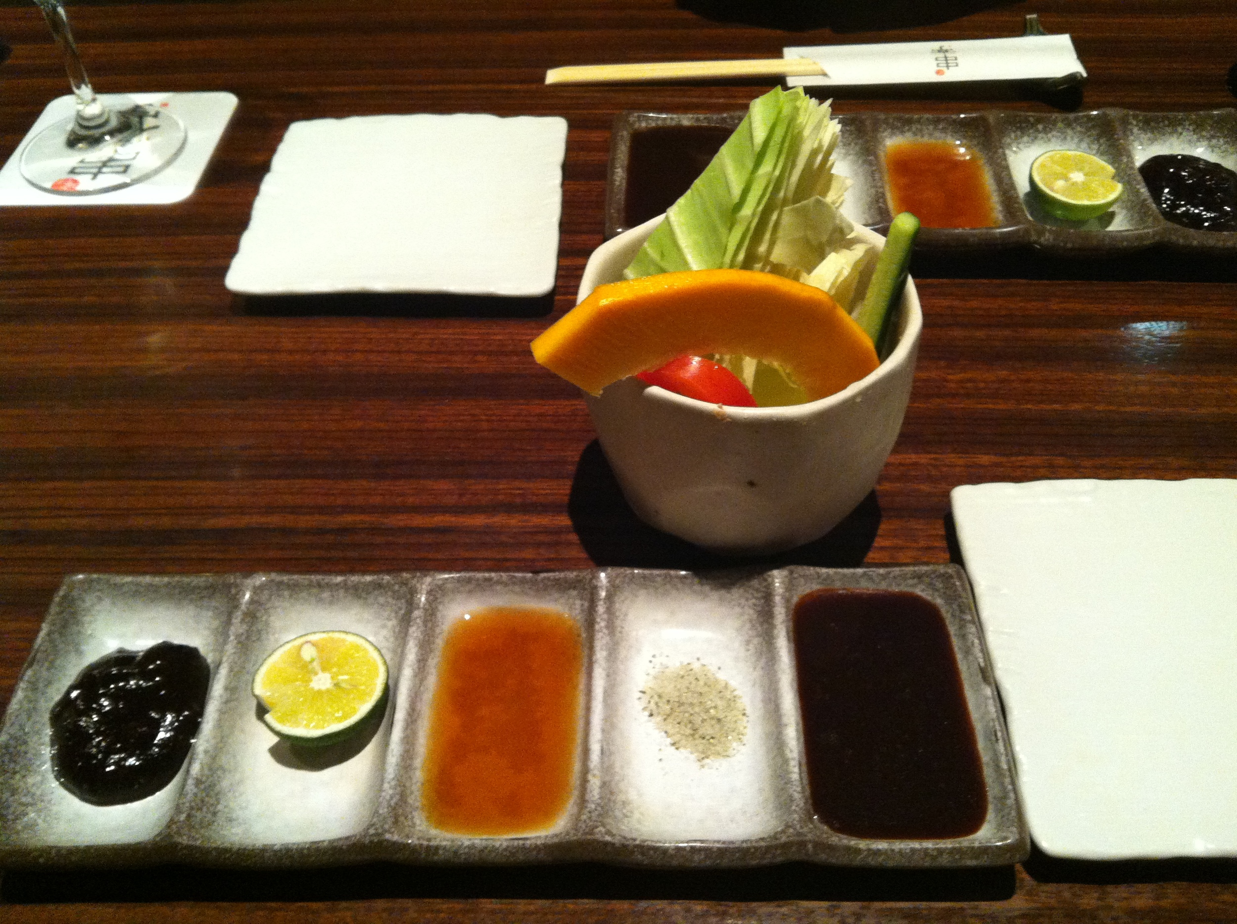 A beautiful meal at Kushitei Ebisuhonten showcasing traditional Osaka cuisine