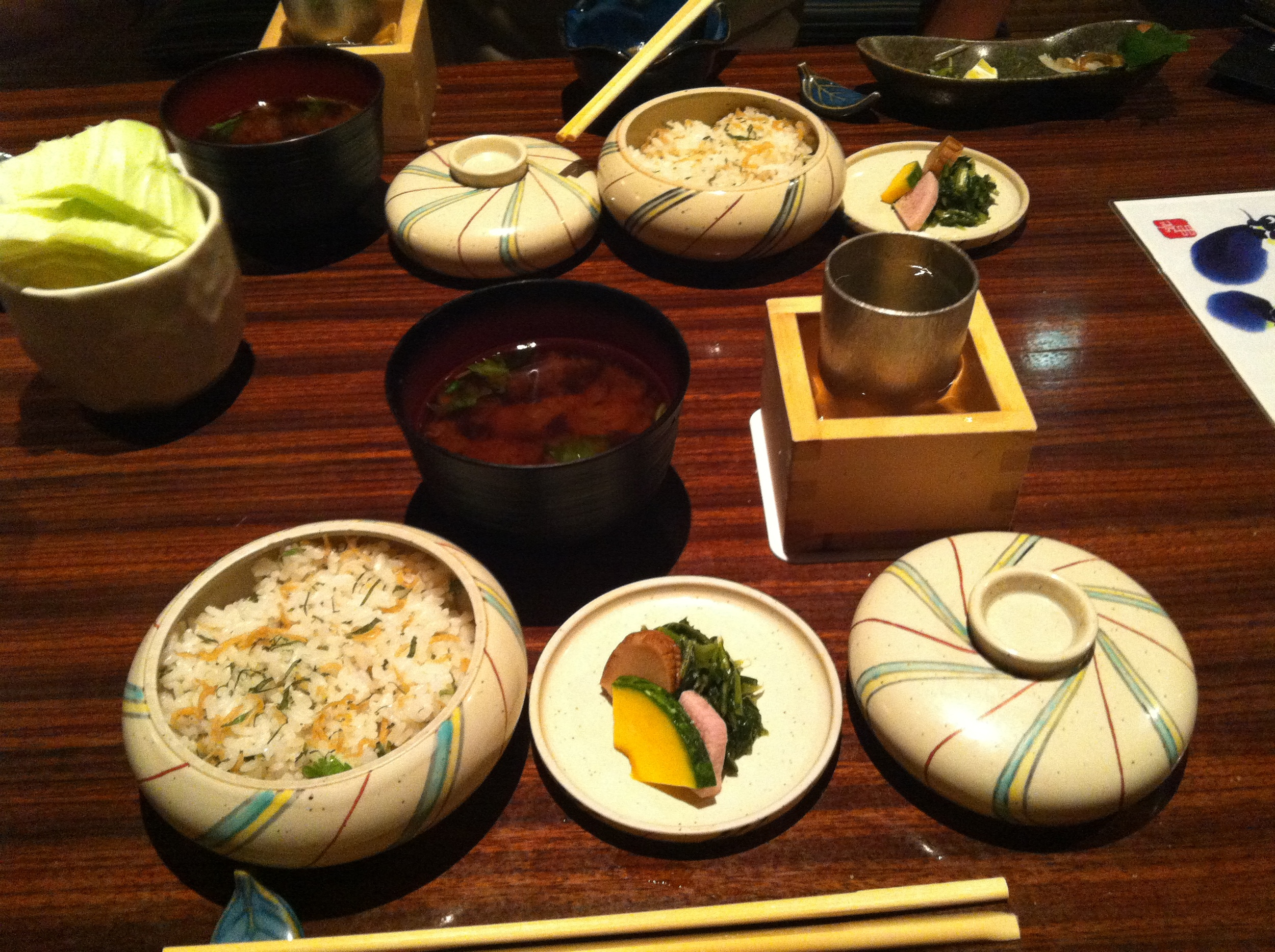 Seasonal vegetables, rice with minnows and pickles