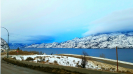 Breathtaking views of the snowcapped mountains in Kelowna, British Columbia