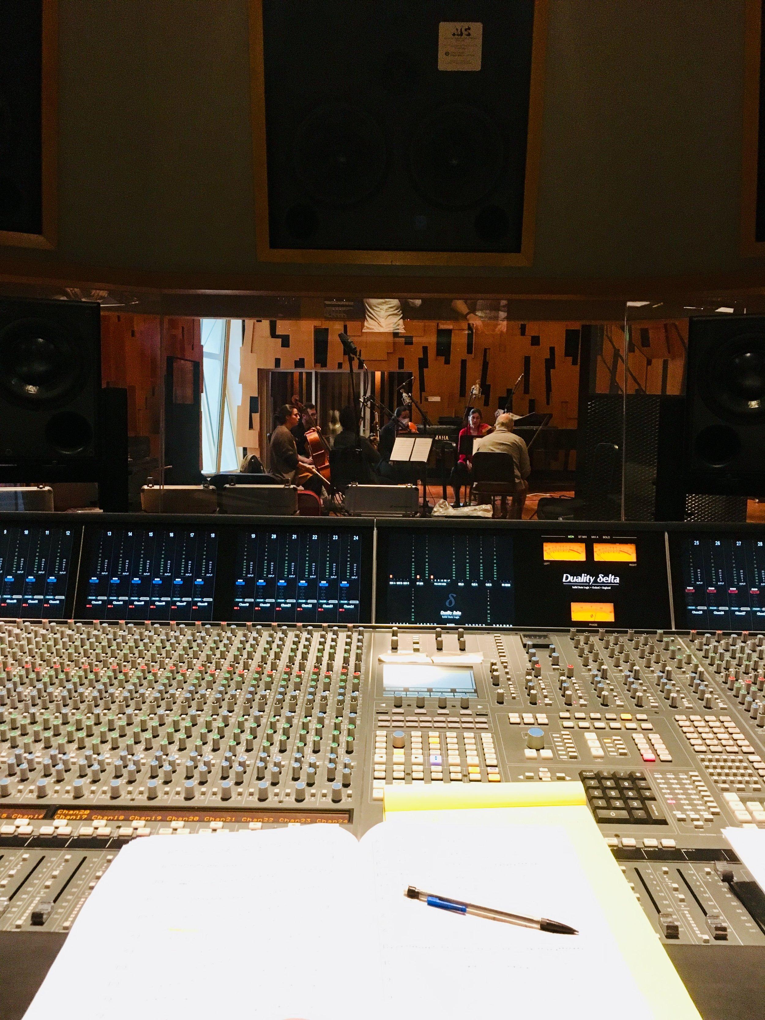 In the studio: Movses Pogossian, Varty Manouelian, Karen Ouzounian, Mike Kaufman, Teng Li, and Kim Kashkashian