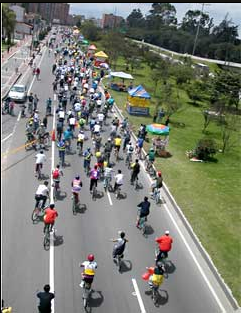 What a Ciclovia looks like. People on bikes. In the road. Radical.