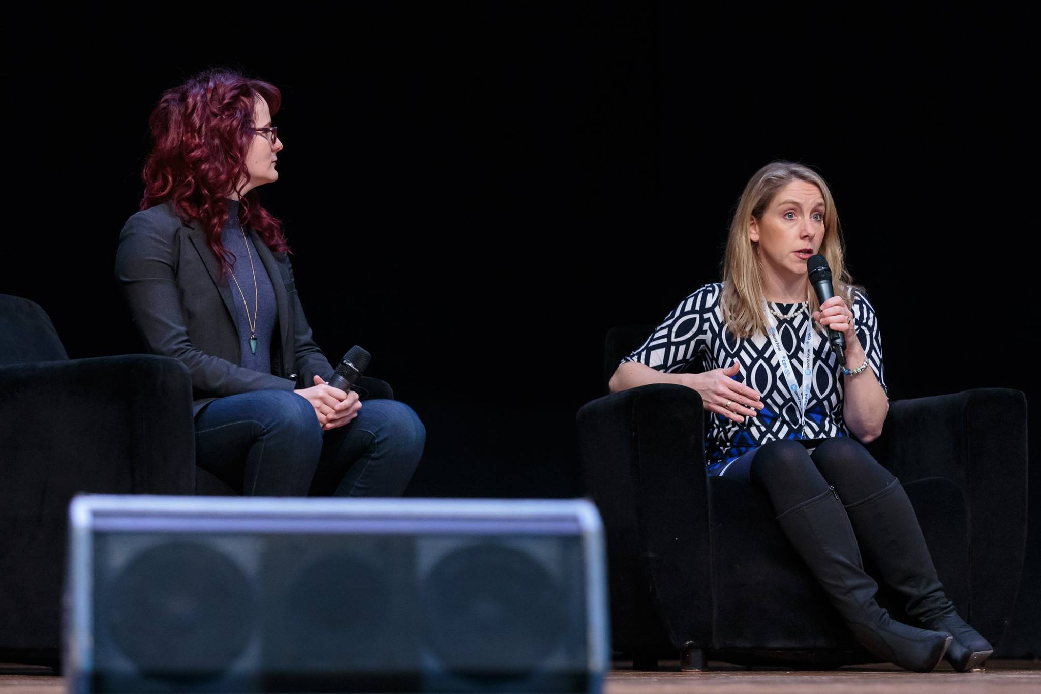 Chatting with Hilary Carter of the Blockchain Research Institute on stage at the AI World Forum, 2017.