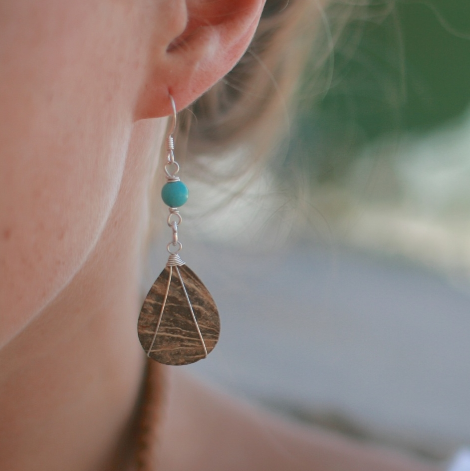 Turquoise and Coconut Earrings