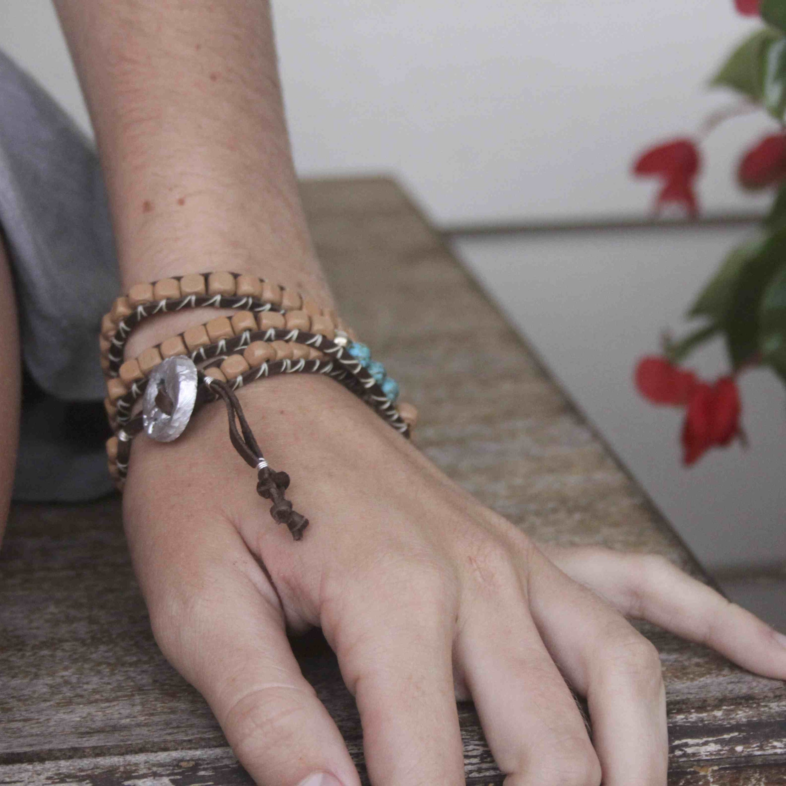 Tan Turquoise Wrap Bracelet