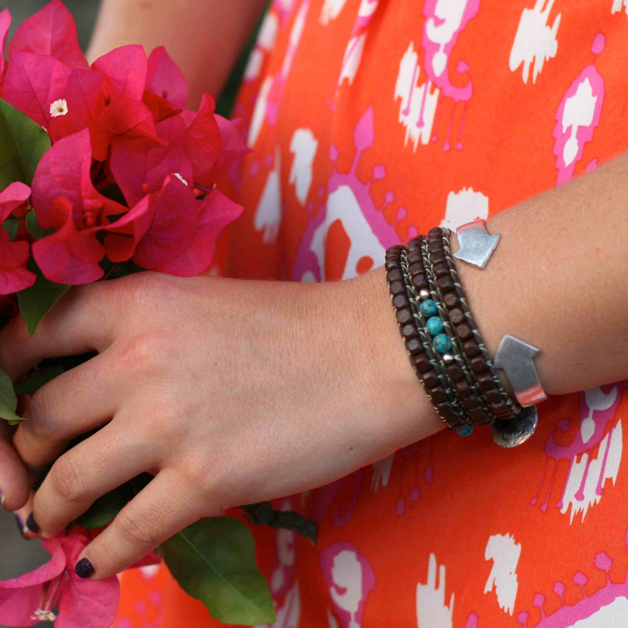 Dark Brown Turquoise Wrap Bracelet