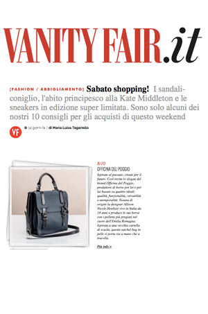 VANITY FAIR  Italy features the ODP Gemini Satchel in Saturday Shopping