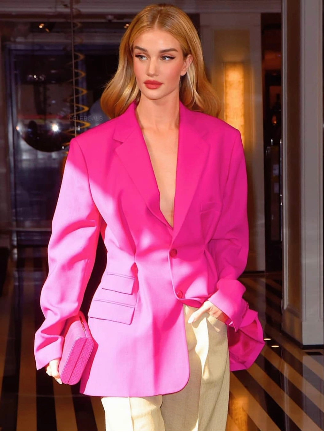 Rosie Huntington-Whiteley  with the ODP Toscano Clutch in New York City