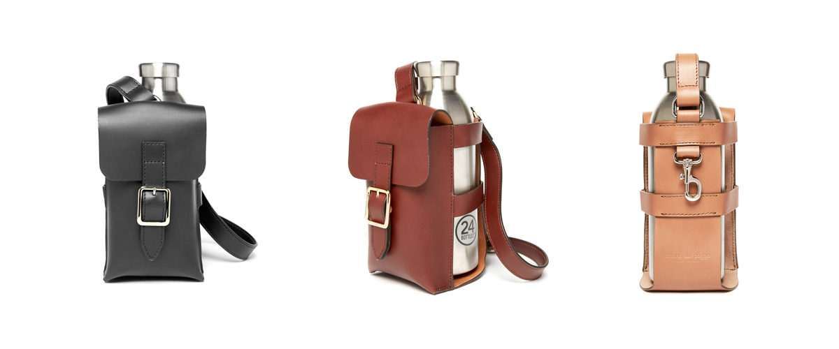 The  ODP Bottle Bag  is available in three colors of our signature vegetable-tanned leather, featuring a snap-front phone pocket, adjustable cross-body strap, and key clip. The bag includes a Clima Steel Bottle from  24Bottles , with a double-wall design to insulate both hot and cold beverages.