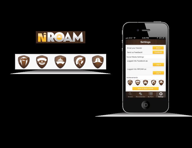 Icons developed for Mobile App, NRoam