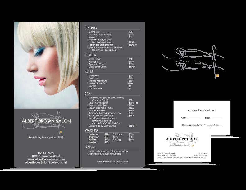 Service Menu created for Albert Brown Salon