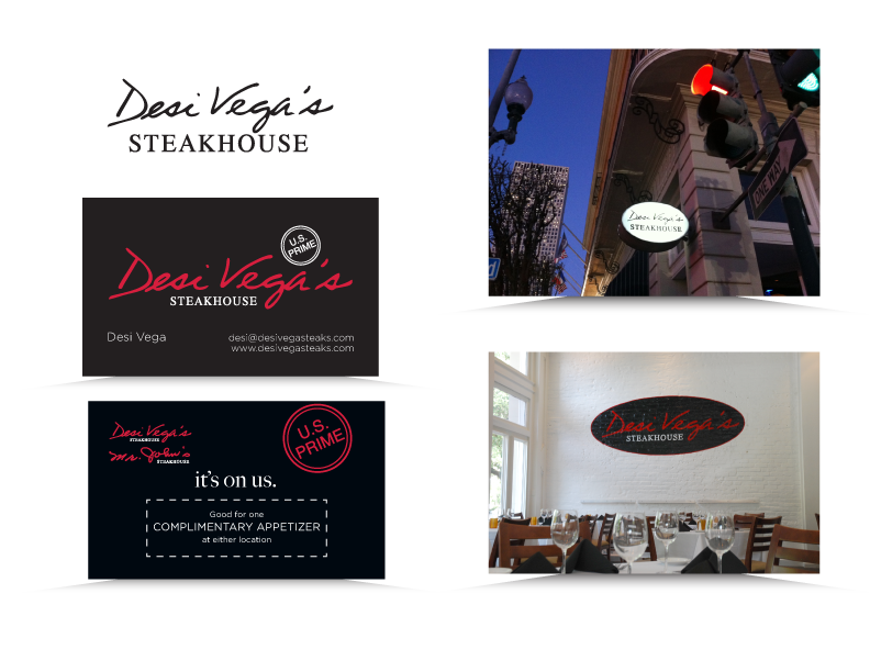 Logo, collateral and signage designed for Desi Vega's and Mr. John's Steakhouse New Orleans