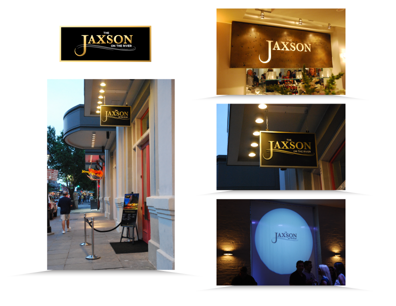 Logo and signagecreated for Jaxson, event venue in Jax Brewery, New Orleans