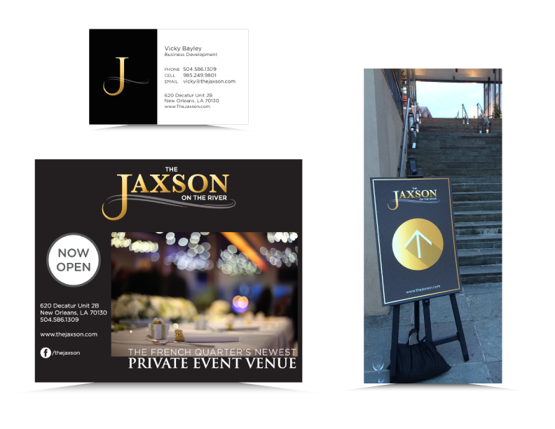 Print ad and signage for grand opening of the Jaxson, Jax Brewery, New Orleans