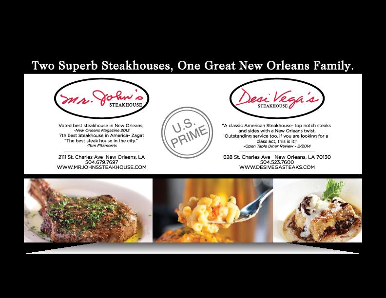 Gambit ad for Desi Vega's and Mr. John's Steakhouse, New Orleans