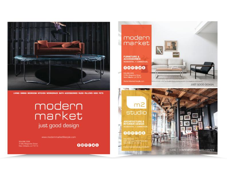 Print ads for Modern Market,  Seven Men's Magazine  &  New Orleans Home & Lifestyle Magazine