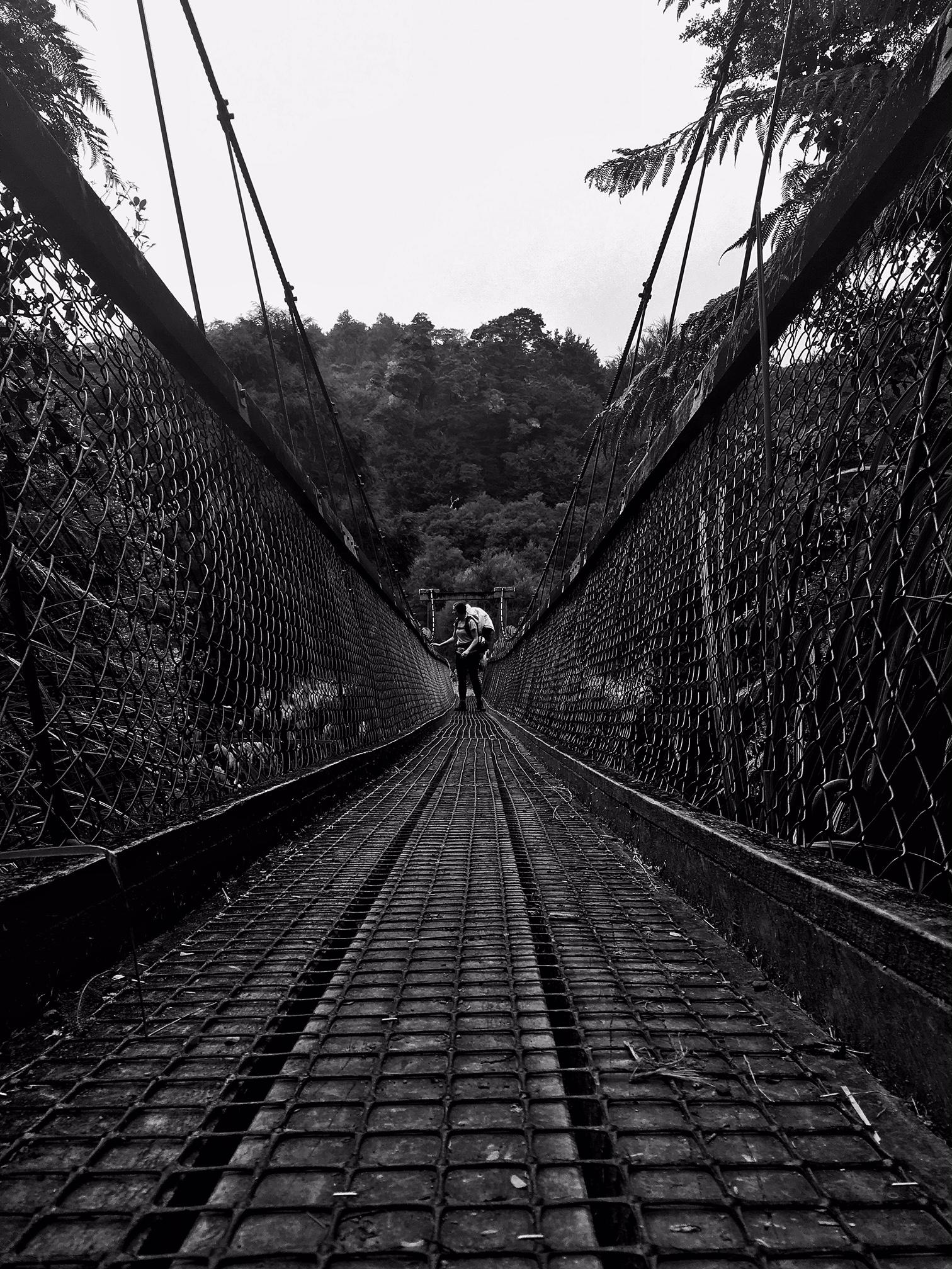 // Lauren crossing the bridge