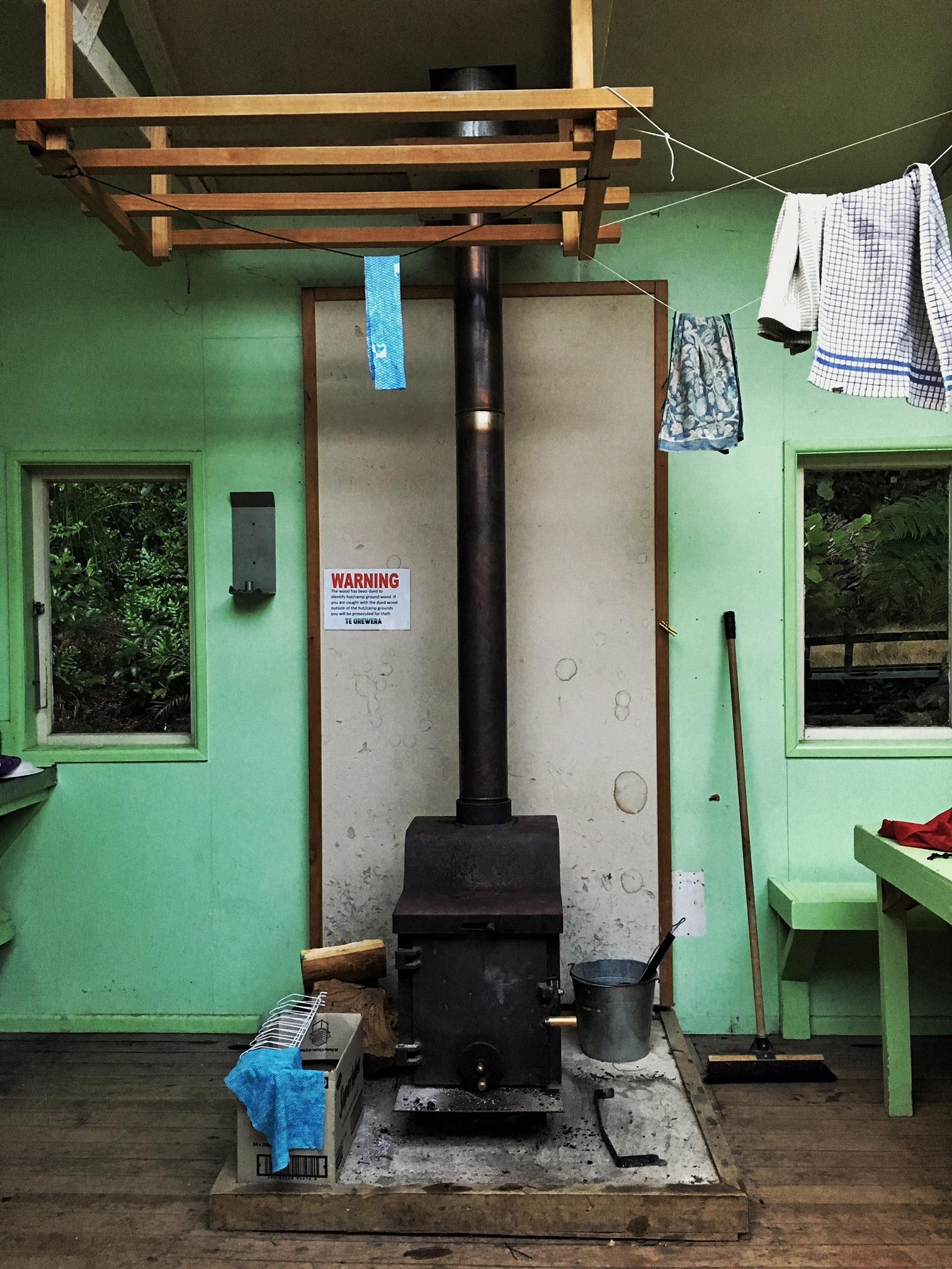 // Wood burning stove at the hut