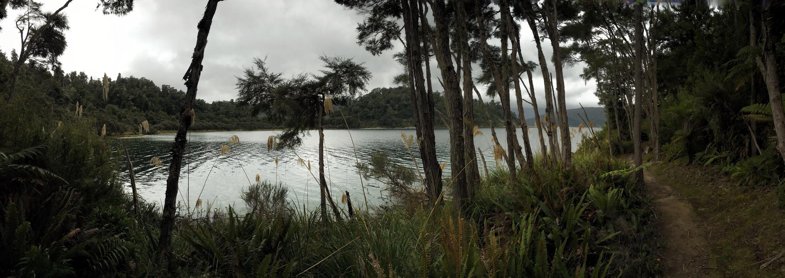 // Panaroma of trail and lake