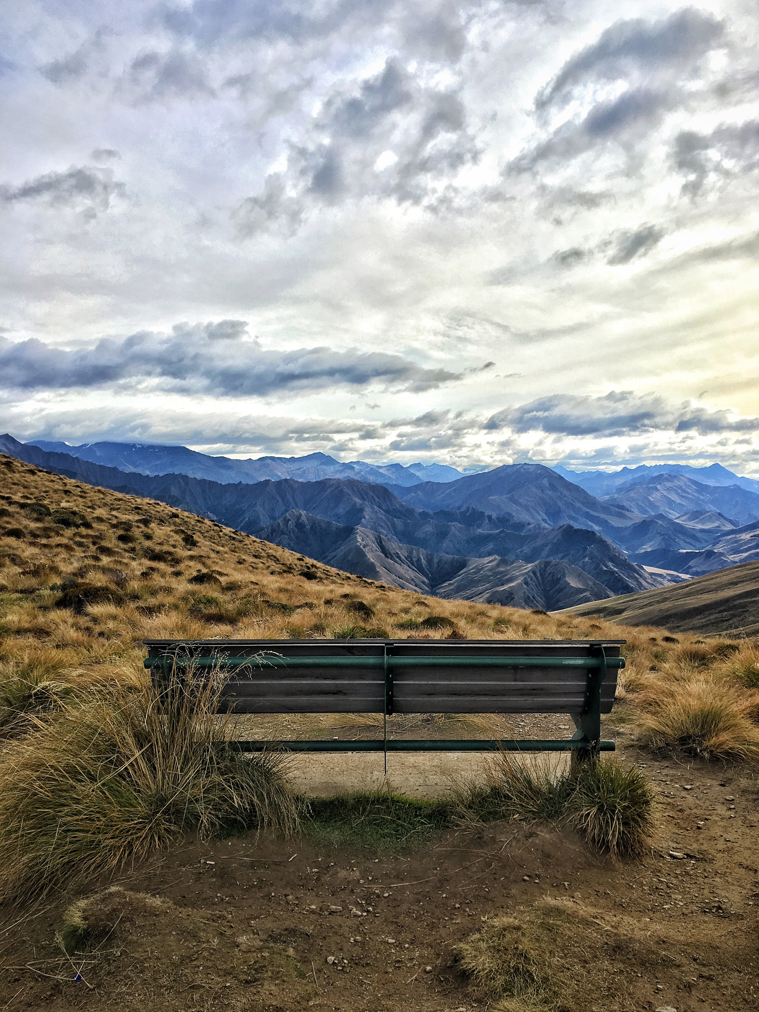 // Rest stop at the Saddle, looking North onto the Southern Alps