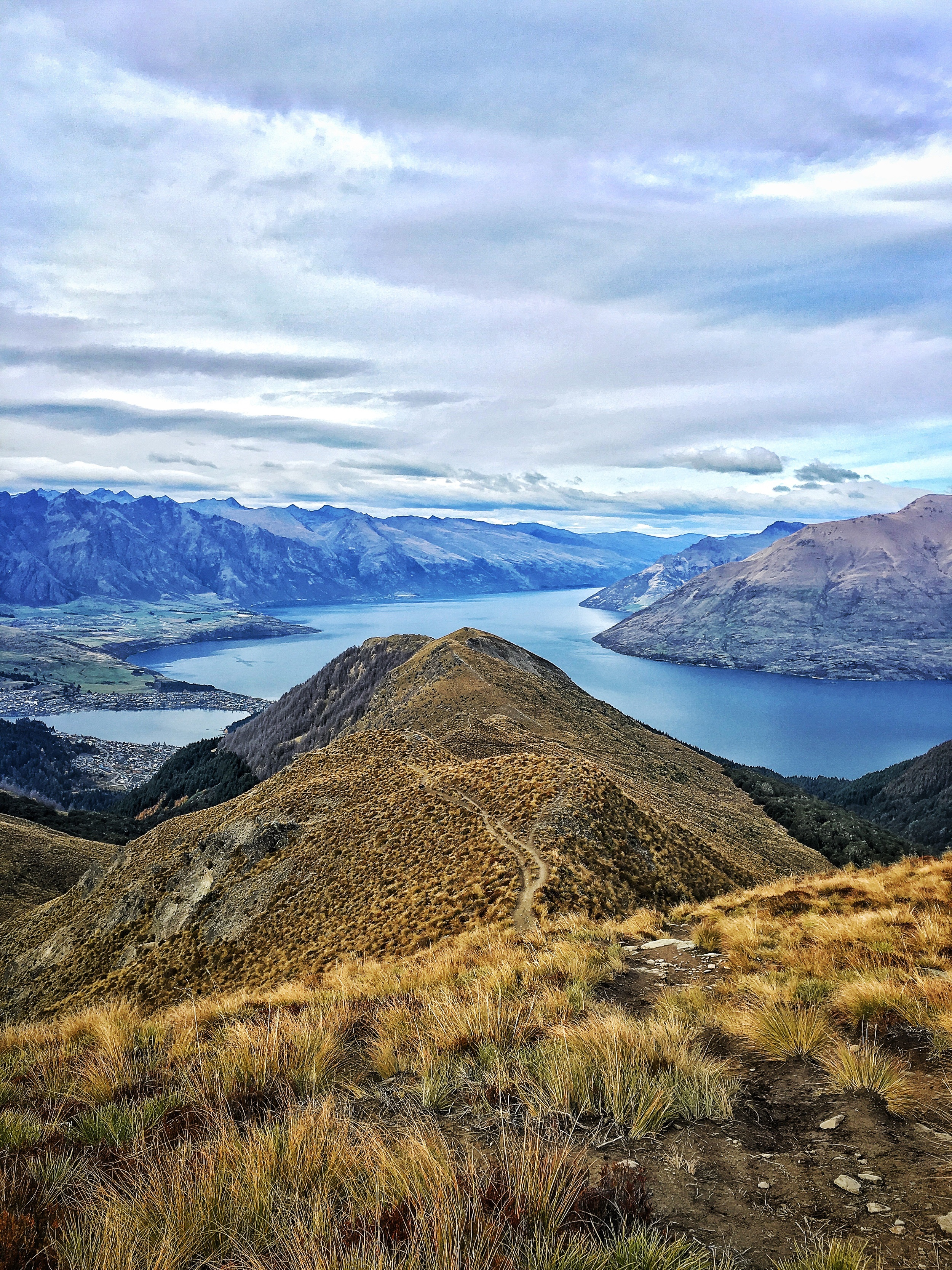 // Nearly to the Saddle, view South onto Queenstown, Lake Wakatipu, The Remarkables, and Cecil Peak
