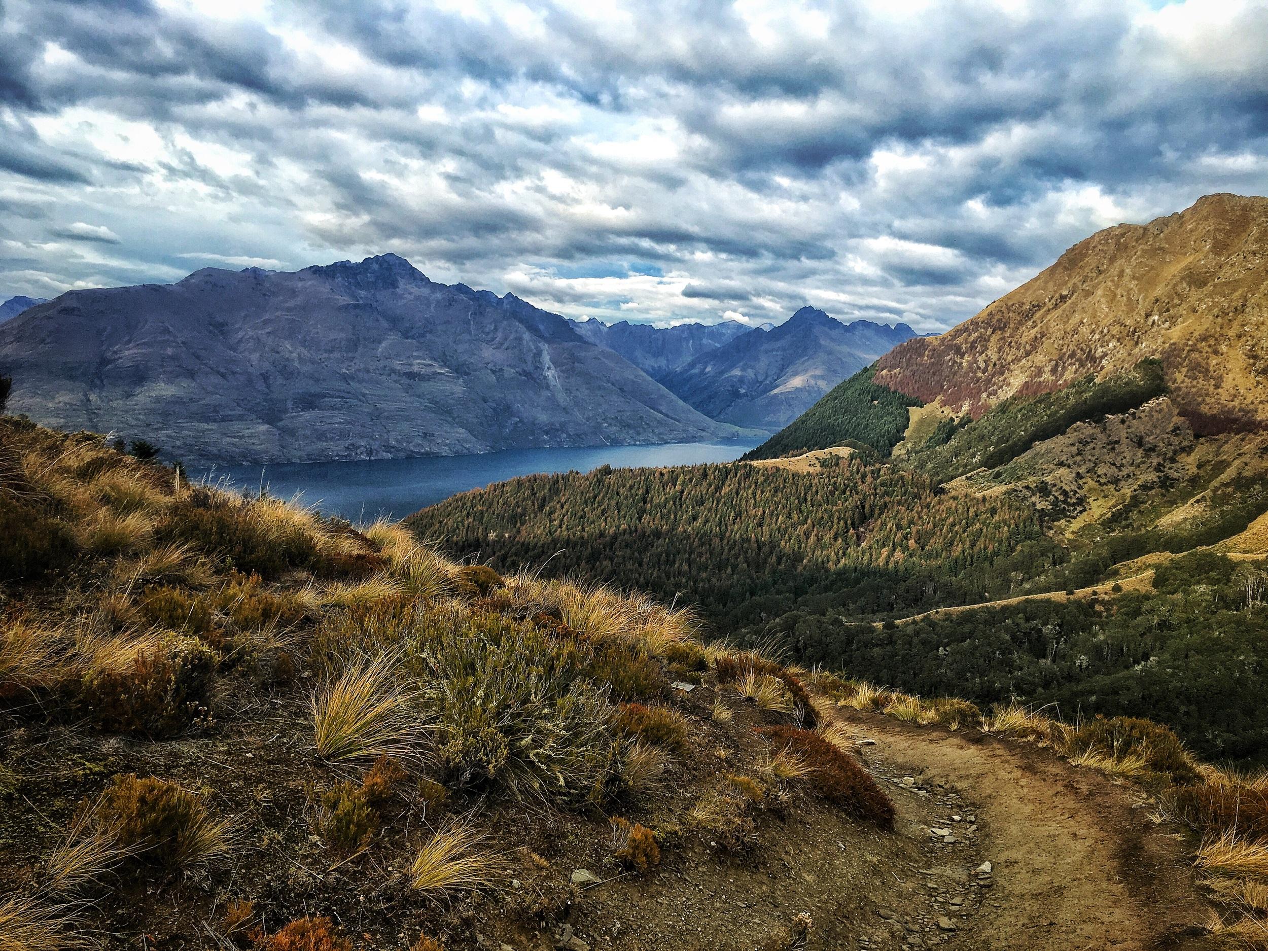 // Views South toward Lake Wakatipu, Cecil Peak, + Walter Peak