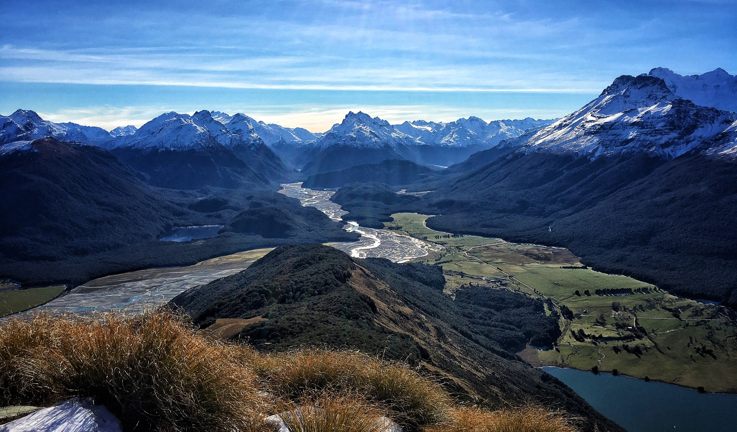 // Top of Mt Alfred, looking North onto Paradise, the Dart River, Mt Earnslaw, and the Southern Alps