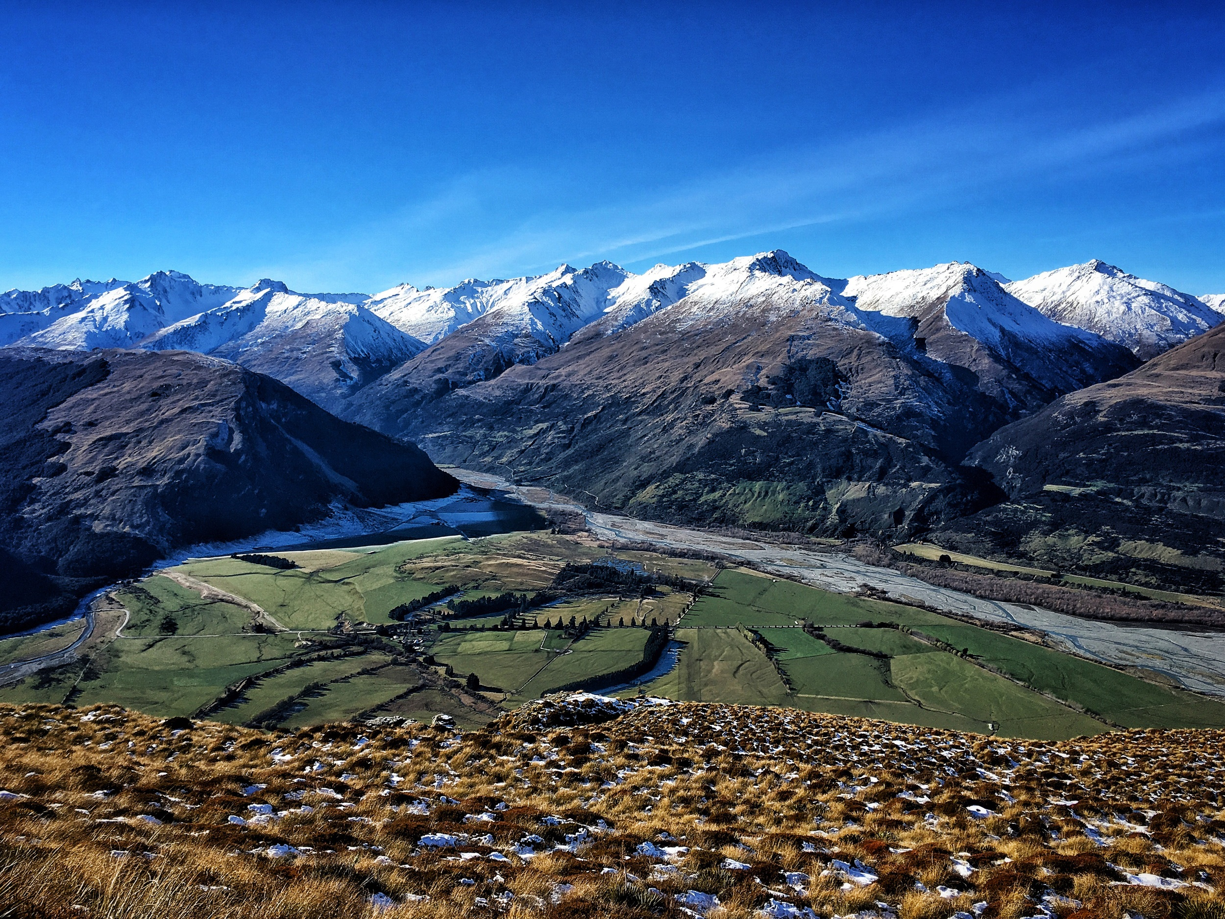 // Top of Mt Alfred, looking East over the Rees River and the Southern Alps