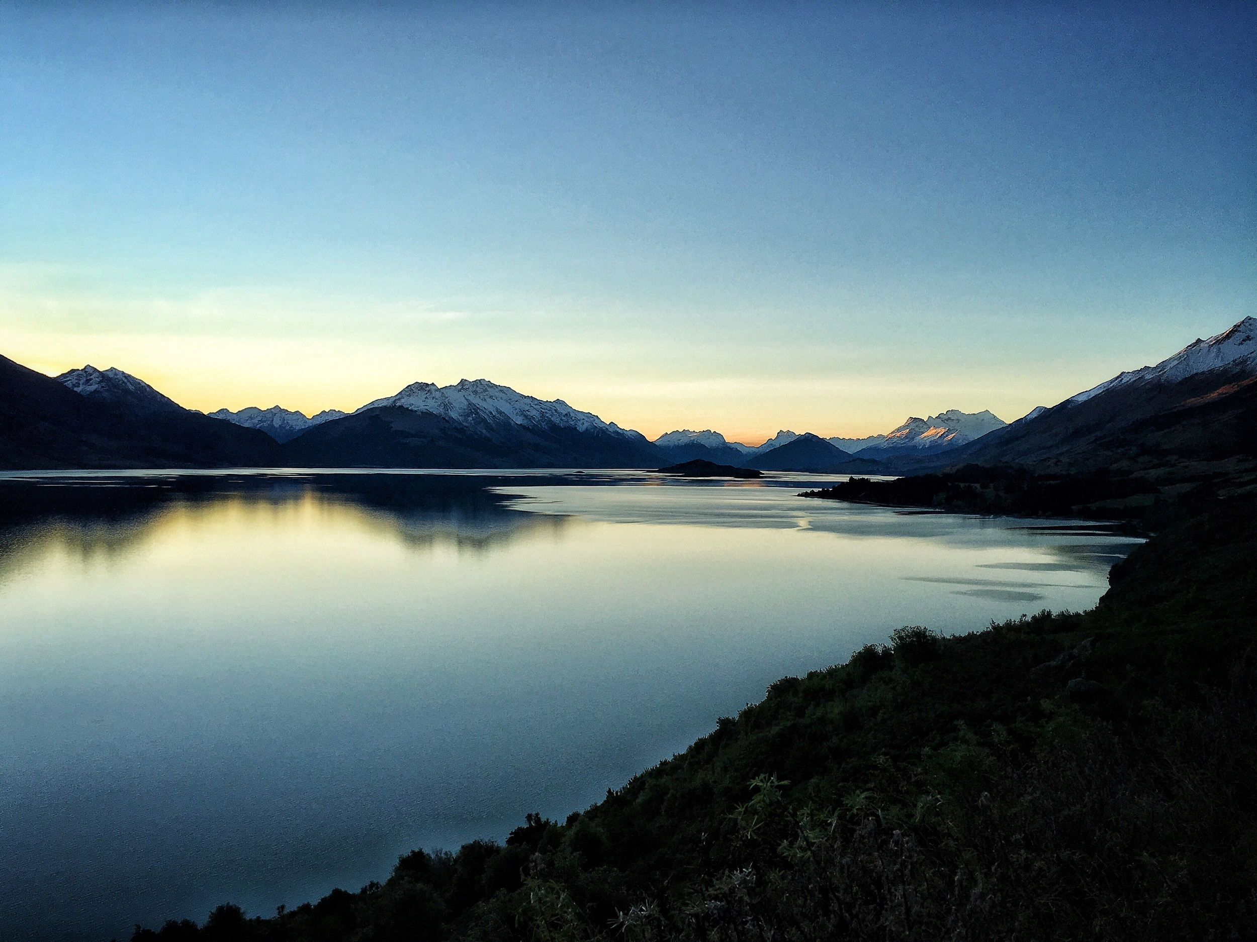 // Drive back to Queenstown, looking back toward Glenorchy and Mt Alfred