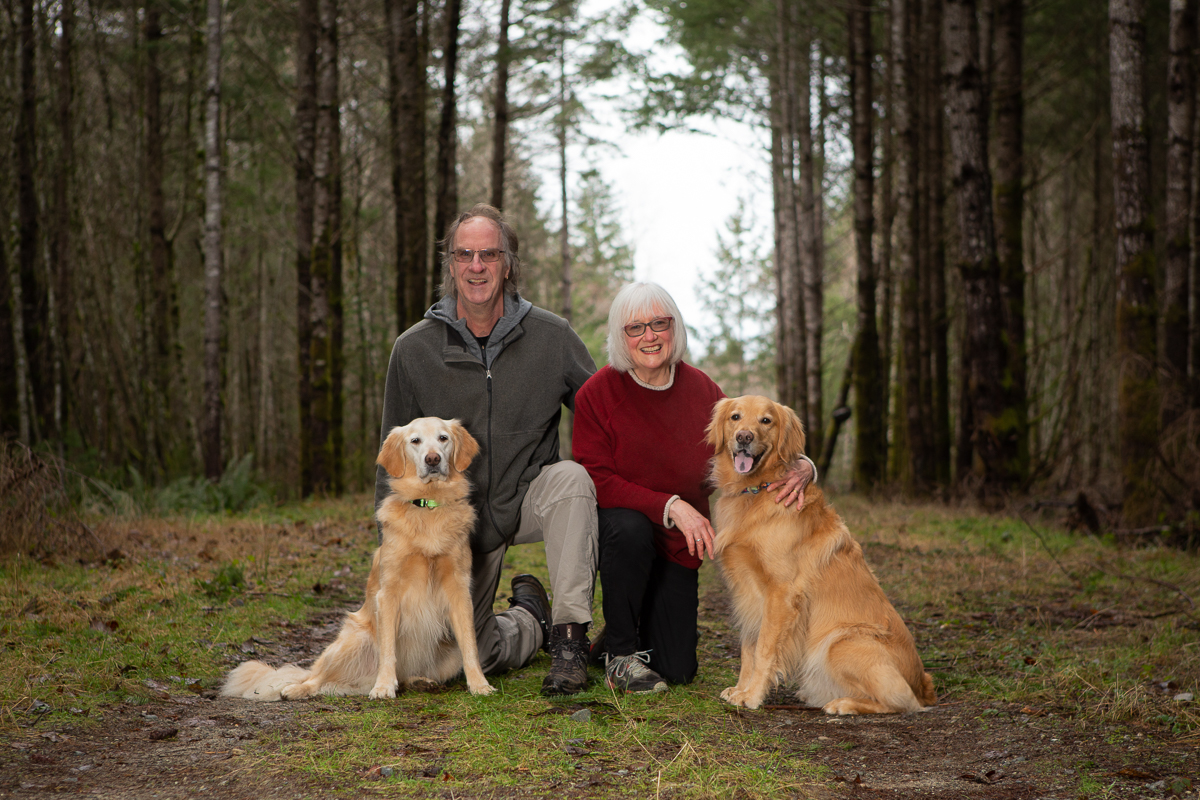 Couple with two labrador retriever dogs in the forest