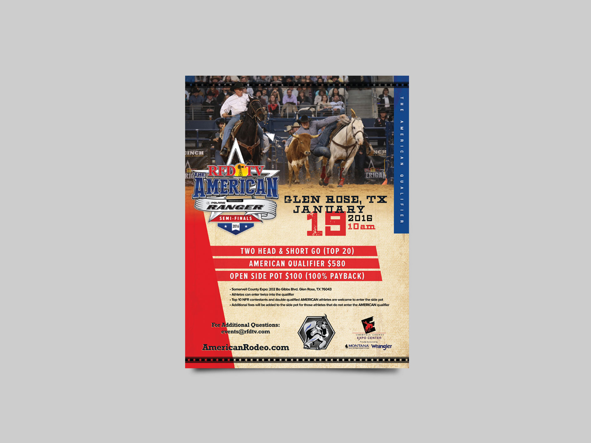 Advertising flyers for THE AMERICAN rodeo qualifier events.
