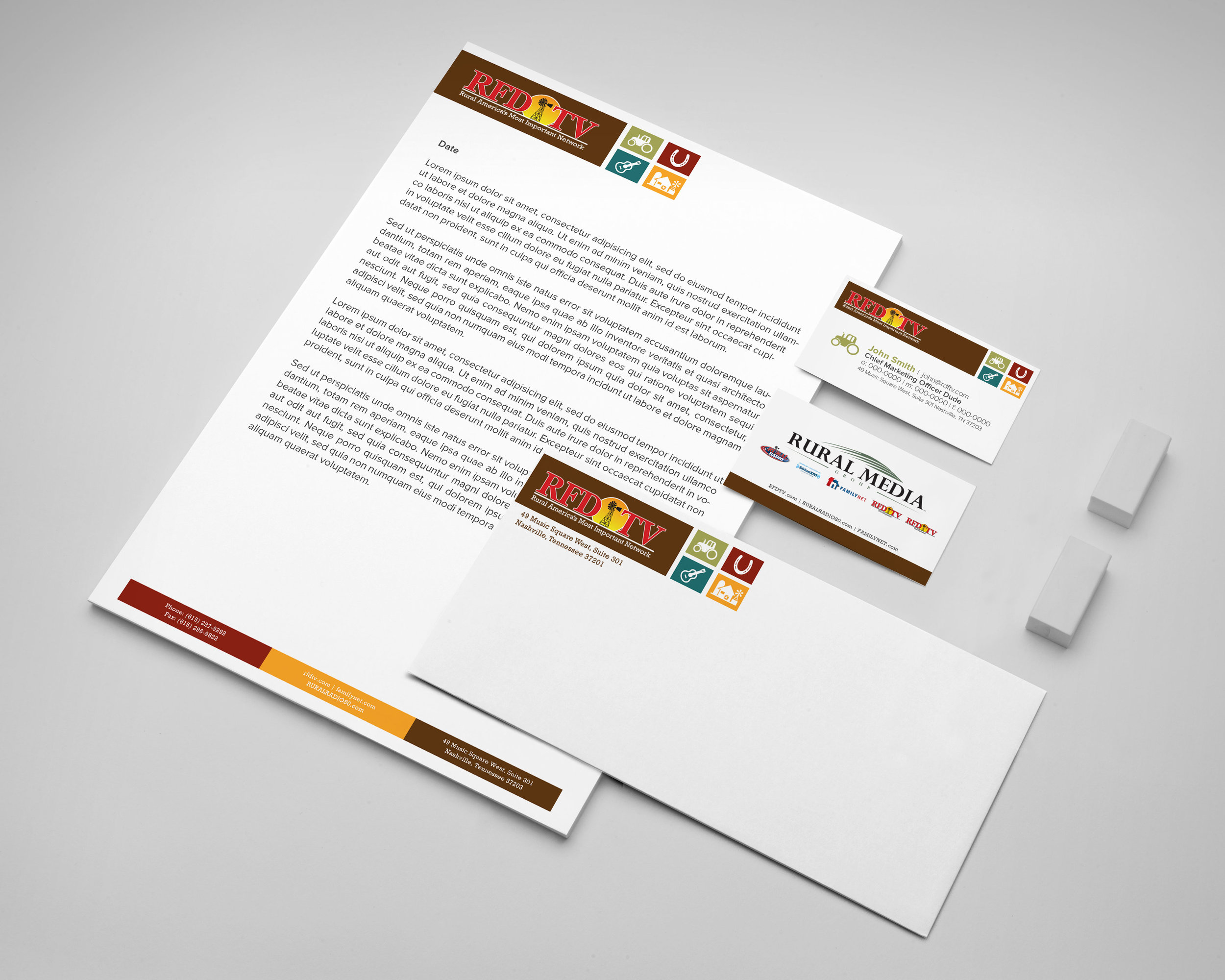 Initial brand mockups for RFD-TV of Rural Media Group.