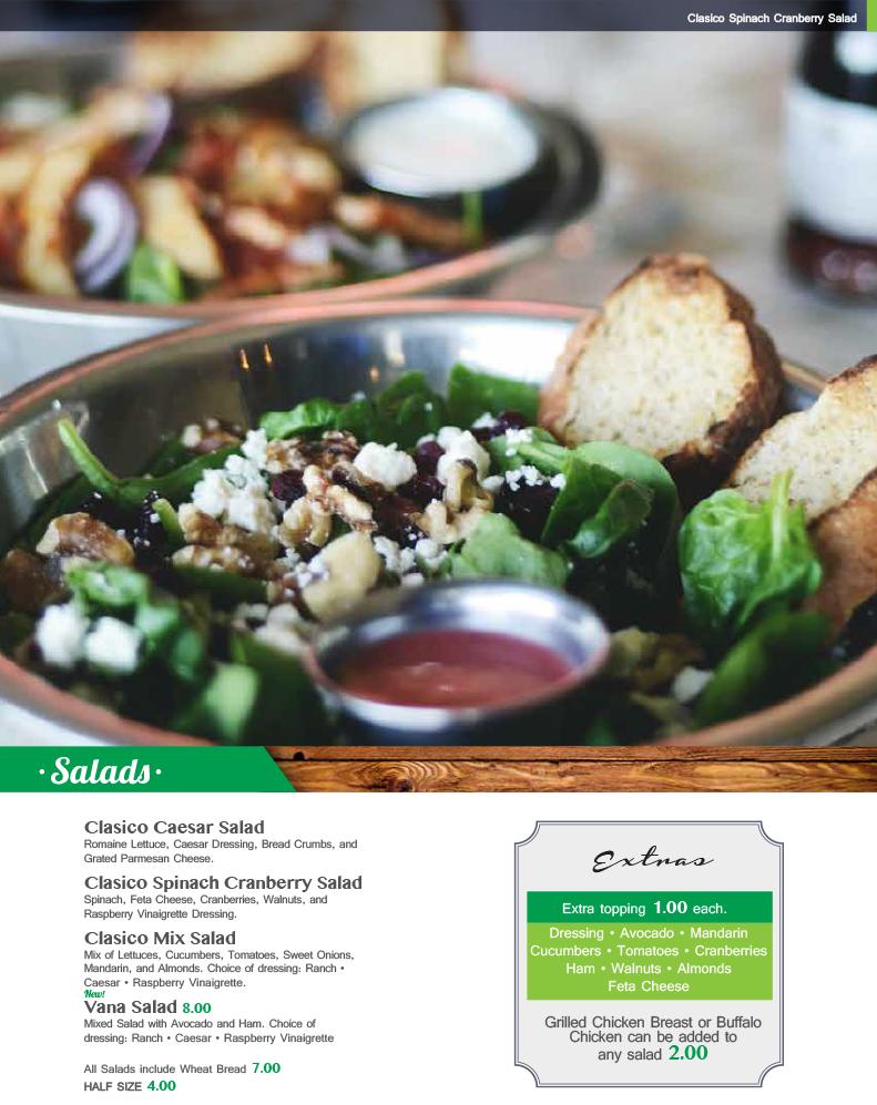 ClasicoKitchenBar-Salads-ClasicoCaesarSalad-ClasicoSpinachCranberrySalad-ClasicoMixSalad-VanaSalad-9615MontanaAveEl PasoTX79925-9155999133
