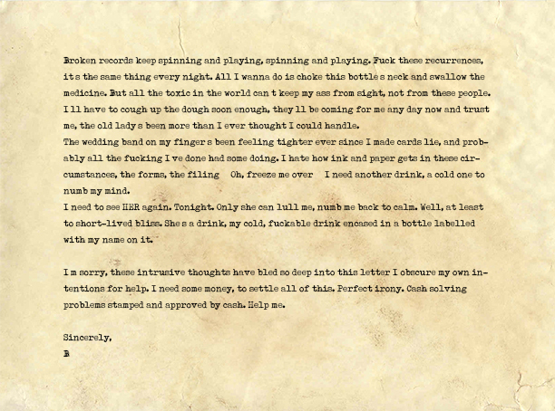 Letter to brother asking for financial help.