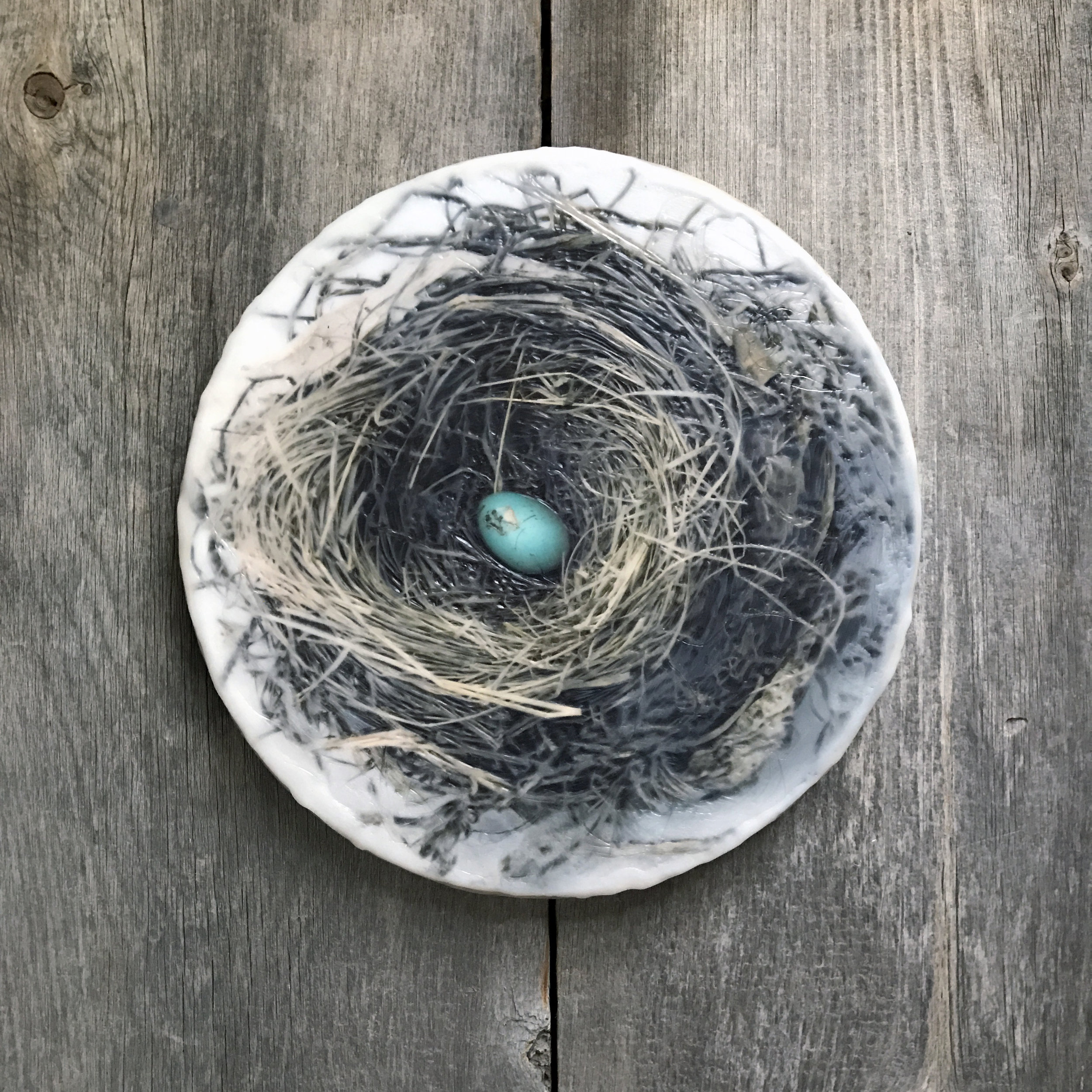 """Nest with One Egg   (12""""round)"""