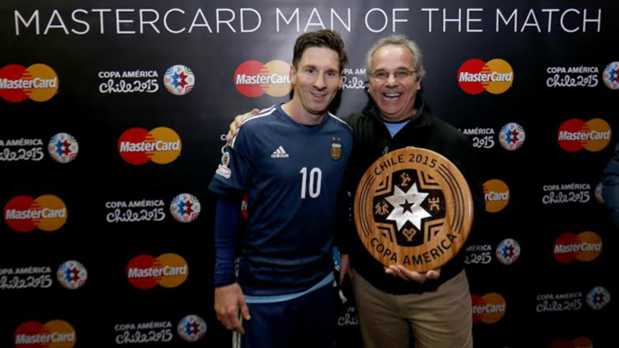 Lionel Messi with MasterCard Man of the Match Award