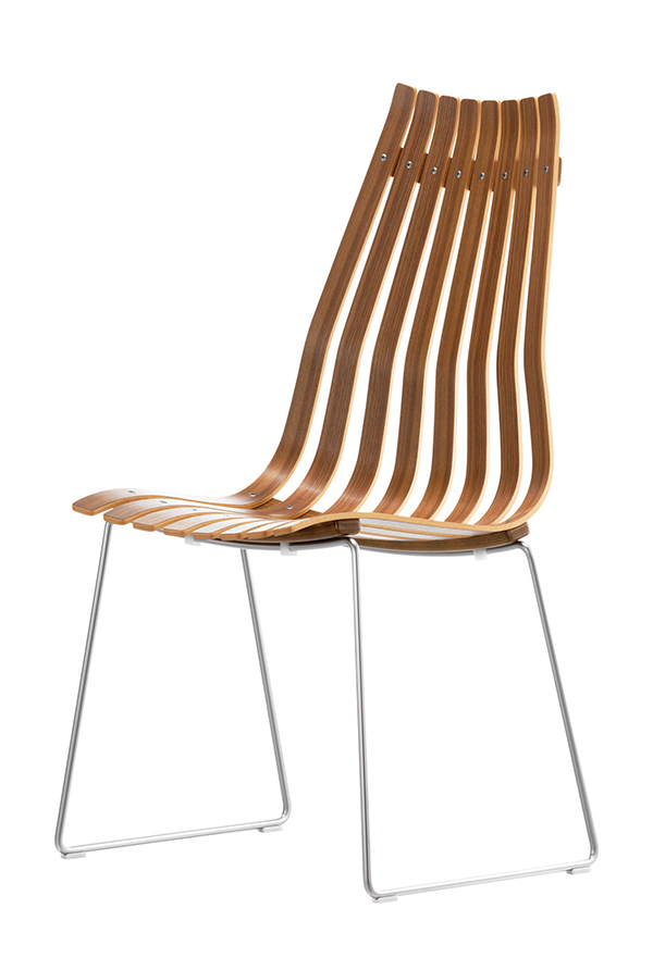 Scandia Prince chair designed by Hans Brattrud, 1960, made by Fjordfiesta, in lacquered, laminated American oak.  Courtesy of Fjordfiesta.