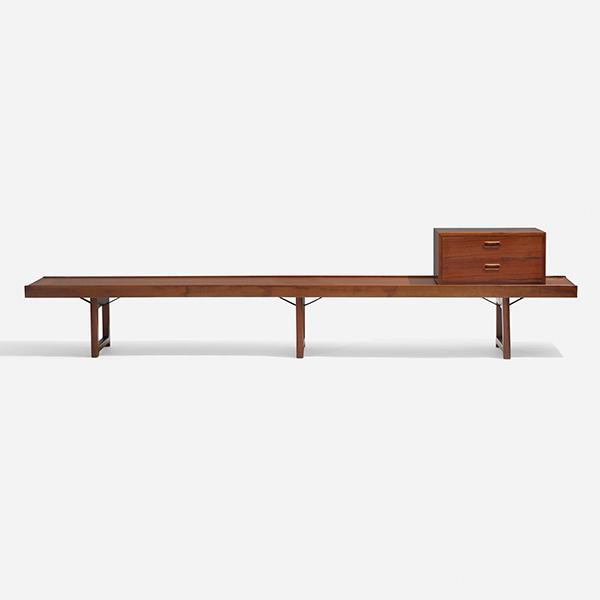robo 150 bench and cabinet designed by Torbjørn Afdal and made by Mellemstrands Trevareindstri for Bruksbo, c. 1962, of teak, rosewood, and enameled steel. Courtesy of Wright.
