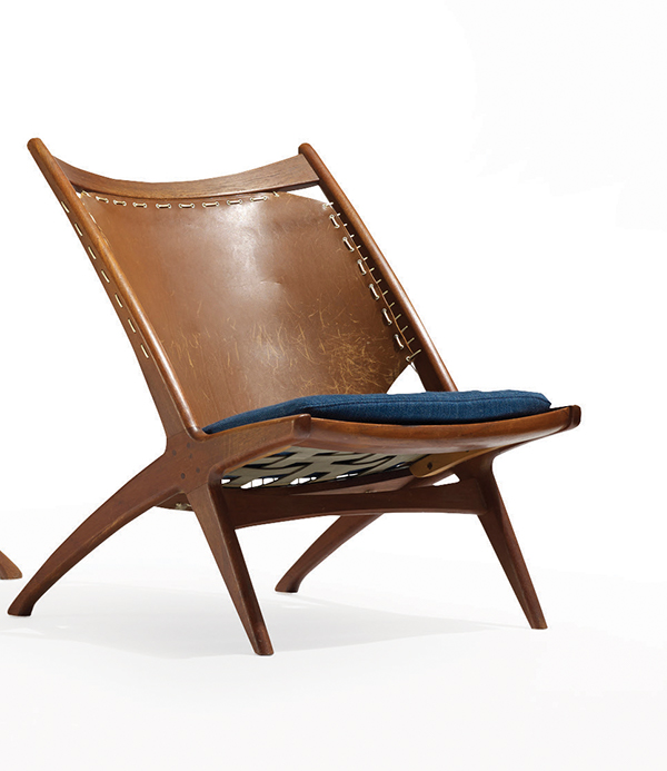 Kryss (Cross) lounge chair designed by Fredrik A. Kayser and made by Gustav Bahus, 1955, of teak, leather, and upholstery.  Courtesy of Wright.